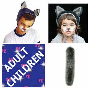 Wolf or Cat Animal Fancy Dress 2 ps Set Adult Children Carnival Costume Party