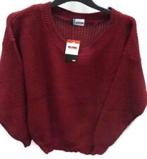 Womens Burgundy Jumper Pullover Sweater Scoop Neck Ladies Long Sleeve Size XL