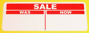 2000 Bright Red 30 x 66mm SALE was / now Price Point Stickers, Sticky Labels
