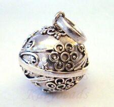 14mm Sterling Silver flower ornate Harmony ball pendant musical chime jingle h59
