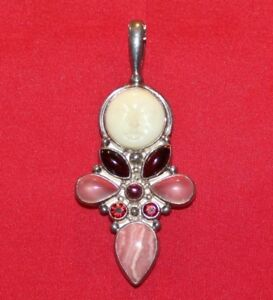 "Sajen 925 Sterling Silver & Mother of Pearl Goddess Pendant,(2,5/8"" x 1,1/8"")"