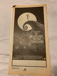 "THE NIGHTMARE BEFORE CHRISTMAS NEWSPAPER TESTER 24"" X 13"" 4 PAGES GORE GRAPHICS"