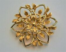 J511:) Vintage Signed Sarah Coventry gold tone Abstract flower brooch pin