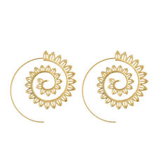 Women Silver Gold Party Jewelry Spiral Brass Tribal Round Hoop Leaves Earrings