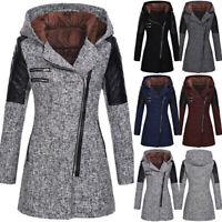 Women Jacket Thick Overcoat Winter Warmer Woolen Outwear Hooded Zipper Coat LIU