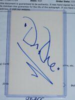 Dr Dre Signed with COA 3x5 index card Auto Rap The Chronic Snoop Dogg Eminem
