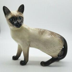 "Beswick Porcelain Cat Figurine, 6"" Standing Siamese, Blue Eyes – England"
