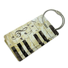 Vintage Piano with Treble Clef and Music Notes Suitcase Bag ID Luggage Tag Set
