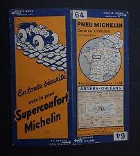 Carte MICHELIN n°64 old map ANGERS ORLEANS TOURS 1932 Bibendum pneu tyre