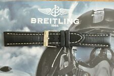 BREITLING 435X 22-20 BLACK OILED CALF TONGUE BUCKLE WATCH BAND WATCHBAND STRAP