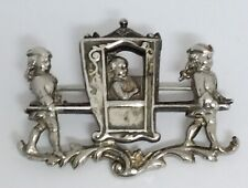 VINTAGE SEDAN CHAIR SILVER PLATED BROOCH PIN