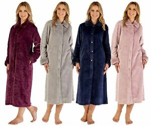 "Ladies Slenderella Luxury Faux Fur Collar 46"" Long Button Through Dressing Gown"