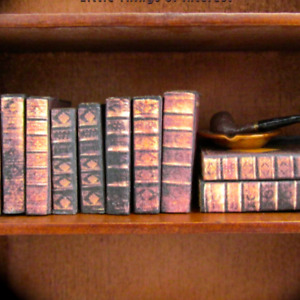 """1:24 Scale 10 OLD LIBRARY Miniature Books Prop Faux Fill a Bookshelf 1/2"""""""
