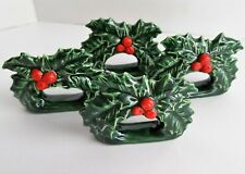 Christmas Holly Ceramic Napkin Rings Holders Lot Of 4 Holiday Dinner Table