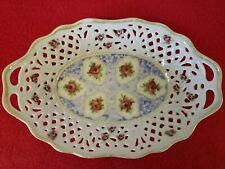 Vintage Dresden Pierced Trinket China Dish. Porcelain Collectible Oval Basket