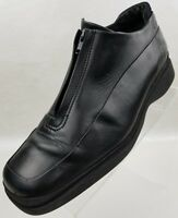 ECCO Ankle Boots Zip Front Black Leather Slip On Womens Shoes Size 8