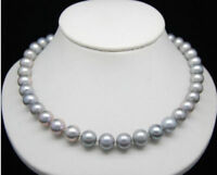 Aaa 9-10mm Real Natural South Sea Gray Pearl Necklace 18inch