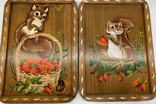 2 Vtg Wood Handpainted Squirrel Strawberry Art Wall Plaque Country Cabin 12x9""