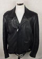VTG Harley Davidson Motorcycles Biker Black Leather Jacket Mens 54 Tall 2XL-3XL