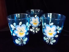 Antique Set 3 Hand Painted Blue  Glass Cups Low ball Mugs Pansy Flower Fenton?