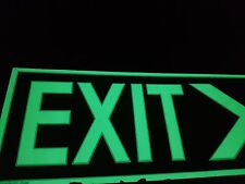 EXIT Glow in dark sign. 37cmx5cm. Arrow pointing Right .Solid board &adhesive