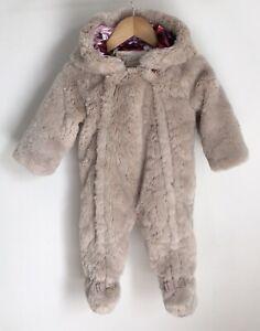 Ted Baker Baby Pram Suit Size 6-9 Months Bear Ears Faux Fur