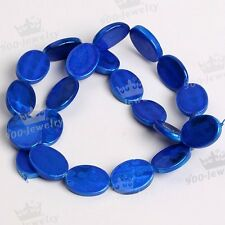 Blue Natural Mother Of Pearl Shell Oval Spot Loose Bead For Charm Jewelry DIY