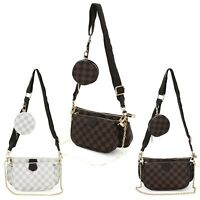 Women's Checkred 3 Size Crossbody Bag Ladies Evening Messenger Shoulder Bag UK