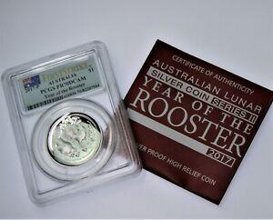 2017 Lunar ROOSTER 1 oz .999 silver high releif proof coin PR70 DCAM Perth W COA