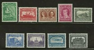 NEWFOUNDLAND #163-171 - MH set of 9 - re-engraved; unwatermarked, VF/XF