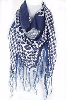 Houndstooth with cheetah and check print square fringe 100% summer silk scarf