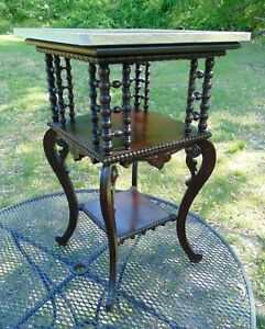 Victorian Stick & Ball Spindle Marbletop Table Stand Merklen Bros Huntzinger