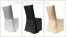 DINING CHAIR COVERS POLY VISA/ DAMASK WITH PLEATS RJ04 GOOD QUALITY