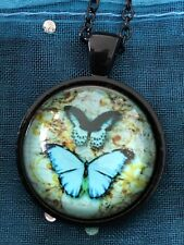 Butterfly Vintage Twins Glass Cabochon Dome Pendant Necklace. Handmade NEW