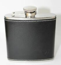 ASPINAL OF LONDON Smooth BlackLeather 5 Oz Classic Engraved CCGB Hip Flask