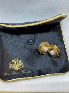 Beautiful Ladies 14k Love Knot Pearl Earrings By Maui Divers Hawaii Not Scrap