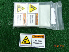 """Clarion Adhesive WARNING Low Over head clearance sticker label 4"""" x 2"""" LOT 50"""