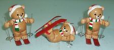 3 Vintage Lefton Porcelain Ski Bear Figurines Christmas Lodge Decor