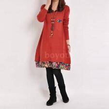 Ladies Cotton Floral Trim Tunic Autumn Dress Winter Top Vintage Women Size 6-20