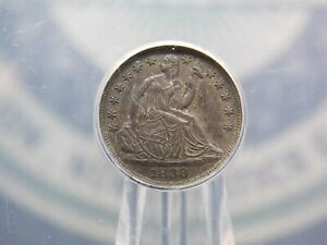 """1838 Seated Liberty Half Dime """"LARGE STARS"""" ANACS AU55 ECC&C, Inc."""