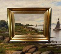 Küste von Seeland Dänemark. Biedermeier Antik Ölgemälde CARL H.F. SCHMIDT (*1853