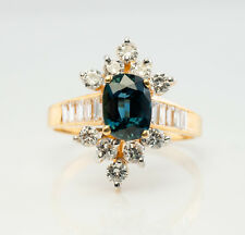 Diamond Sapphire Ring 14K Gold Flower Vintage Estate