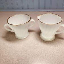 Vintage Fire King Milk Glass Sugar And Creamer