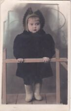 1940s RARE Prety Lovely girl in winter clothes fashion old Soviet Russian photo
