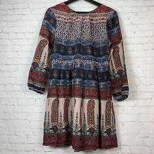 Twelfth Street Cynthia Vincent Paisley Boho Silk Dress Tassels Lace Up Back Sz S