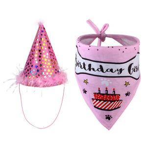 Cute Pet Dog Birthday Bandana with Hat Set Birthday Party Supplies Decorations