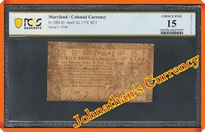 JC&C - Fr. MD-65 - $2/3 1774 Colonial Currency Maryland - CF 15 DETAILS PCGS Bn