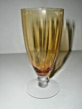 Fry Crystal FRY62 Amber/Topaz Optic Clear Footed Iced Tea Tumbler/ Goblet