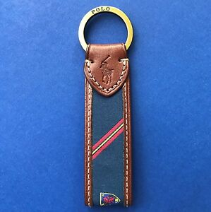 NWT Polo Ralph Lauren Leather Trim w/Silk Crest Split O-Ring Key Chain Fob