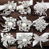 Wedding Silver Jewelry Bouquet Crystal Rhinestone Flower Brooch Pin Charm Gifts